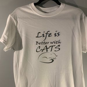 Life is better with cats adult graphic t-shirt